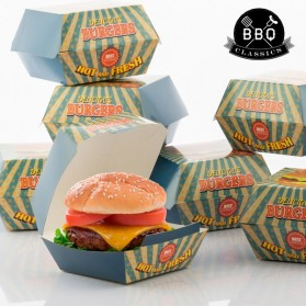 BBQ CLASSICS - Ensemble de boîtes pour Hamburger (Pack de 8)